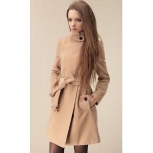 62e00f53664 Отзывы Пальто женское бежевое стойка воротник - купить - Интернет ...