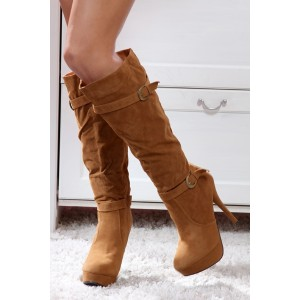 Camel Faux Soft Suede Double Buckle Straps Round Toes Calf High Boots.