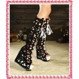73d375753 Отзывы Летние сапоги на платформе и шнуровке черные - купить ...