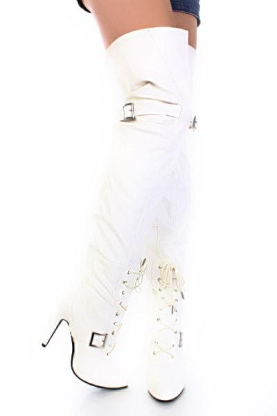 Купить ботфорты белые зимние