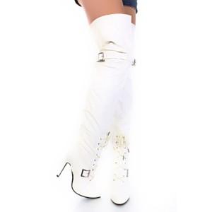 Ботфорты белые на шнуровке