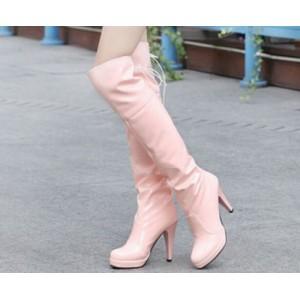 Ботфорты бледно розовые