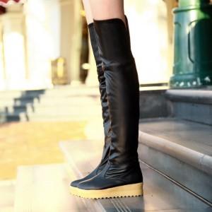117d642b5dca Ботфорты кожаные без каблука бежевые коричневые черные - купить ...