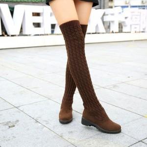Вязанные сапоги коричневые черные