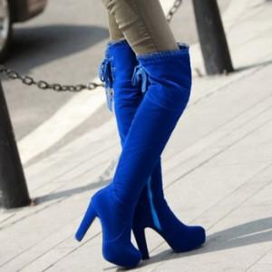 Ботфорты замшевые с кружевом на каблуке