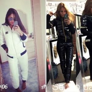 5d4dd020 Зимний женский спортивный костюм белый черный