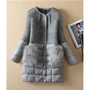 5f3d43ff4e4 Отзывы Куртка-пальто с меховыми карманами серая черная - купить ...
