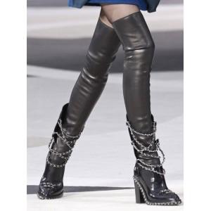 Ботильоны-ботфорты кожаные на каблуке с цепями