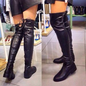 862809533 Ботфорты черные без каблука кожаные с завязками сзади - купить ...