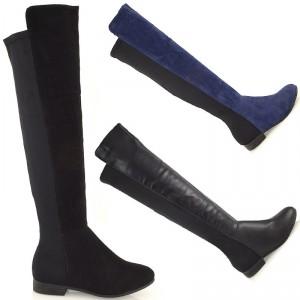 Ботфорты без каблука черные синие