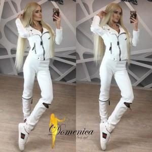 c05af54028a8 Белый спортивный костюм женский с молниями