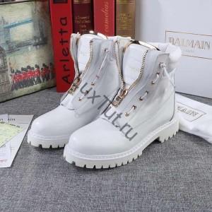 Белые ботинки с молнией
